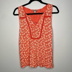 Lucky Brand Orange Patterned Tank Top Blouse